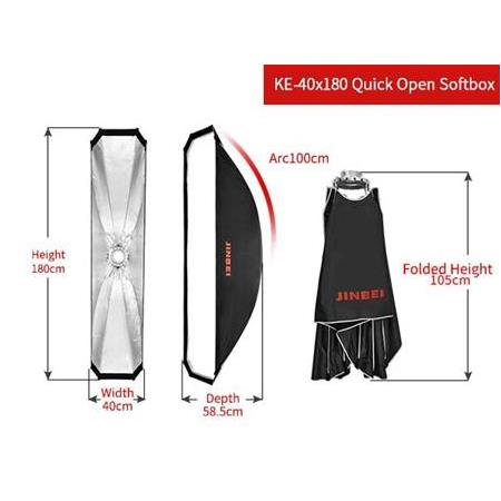 JINBEI KE-40x180cm Quick Strip softbox Petekli/Grids